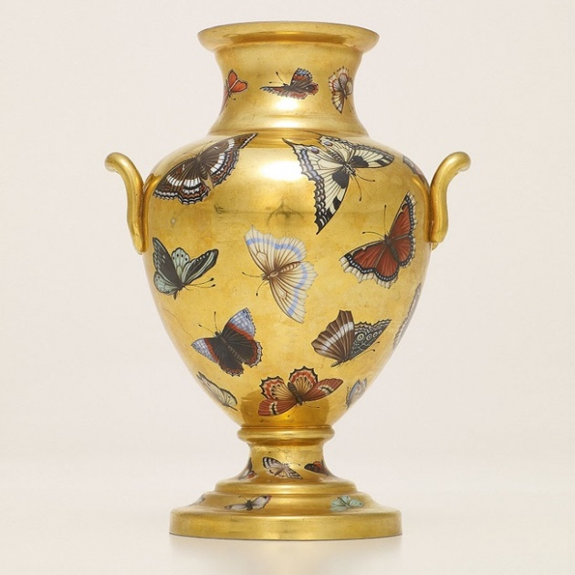 Gilded opaque glass vase with enamelled butterflies, Bohemia, late 19th century